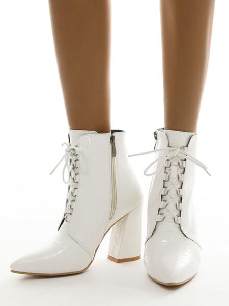 Milanoo Botas de tobillo para mujer Botas Martin de tacon grueso de cuero de PU blanco con cremallera en punta