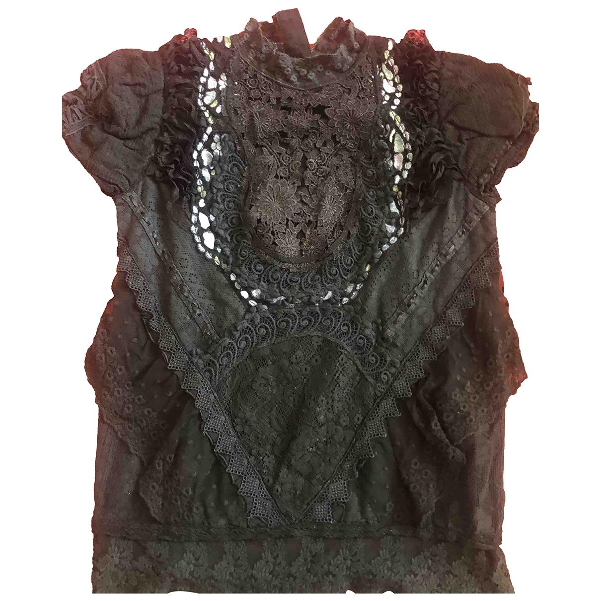 Manoush - Top   pour femme en dentelle - noir