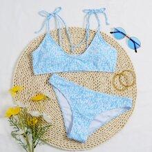 Bikini Badeanzug mit Muster und Band auf Schulter