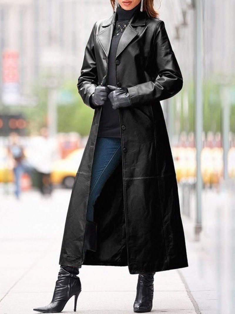Ericdress Single-Breasted Lapel Button Western Long Sleeve Trench Coat