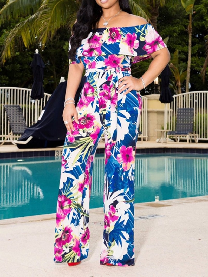 Ericdress Print Off Shoulder African Fashion Slim Jumpsuit