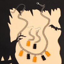 Halloween Halskette & Ohrringe mit Baeren Dekor