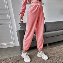 Pantalones de lana de cintura elastica de cintura alta