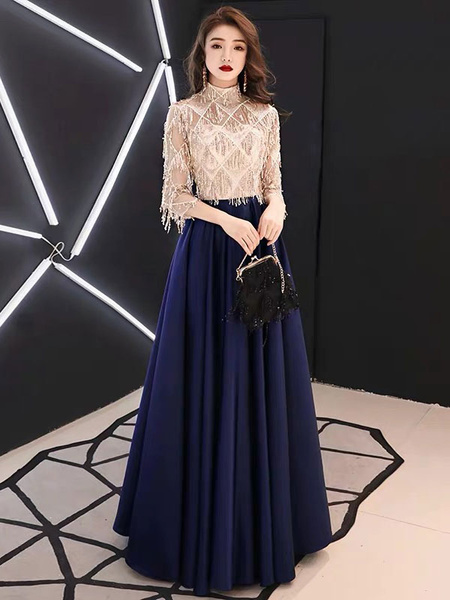 Milanoo Evening Dresses Half Sleeve Sequin Tassels High Collar Maxi Formal Gowns