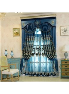 Thick Embroidery European Blue Drapes Sheer Curtain for Living Room Bedroom