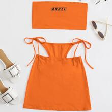 Letter Graphic Tube Top and Tie Side Cutout Detail Skirt Set