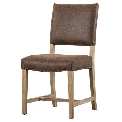 Arthur Collection 3900033-NCE PU Chair with Nubuck Faux Leather Upholstery  Solid Beech Wood Frame and Bronze Nail Heads in Nubuck