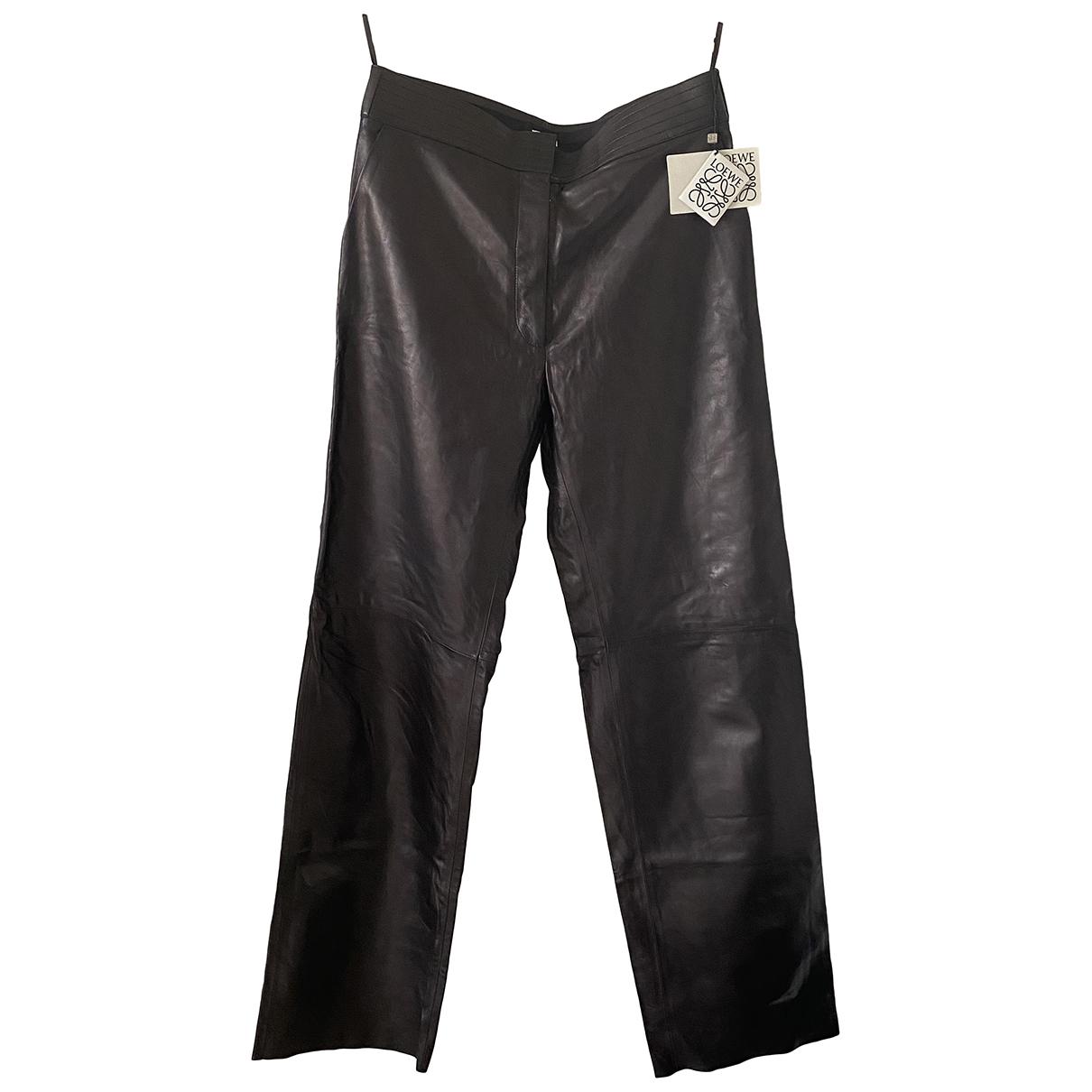 Loewe \N Black Leather Trousers for Women 36 FR