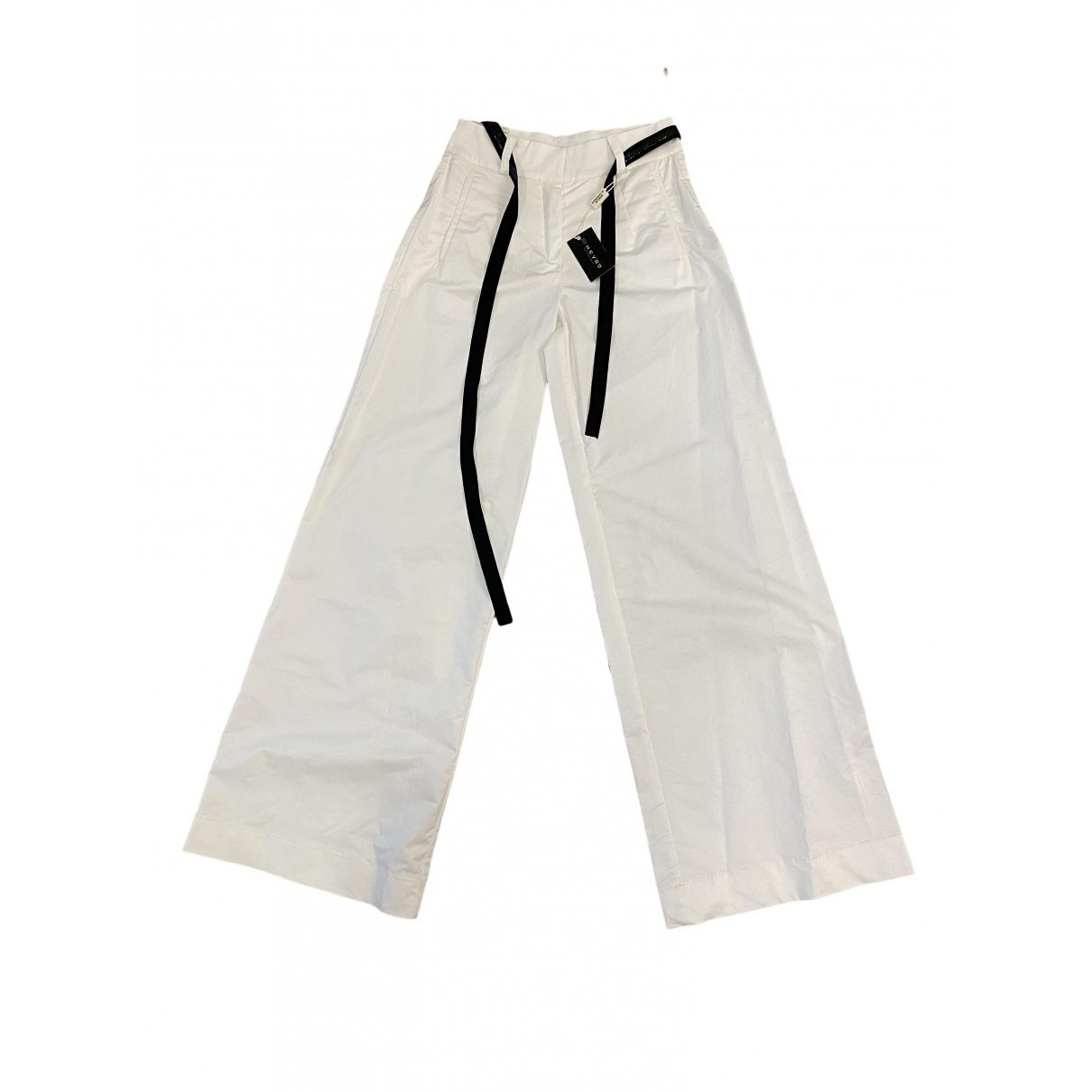 Non Signé / Unsigned Oversize White Cotton Trousers for Women 36 FR