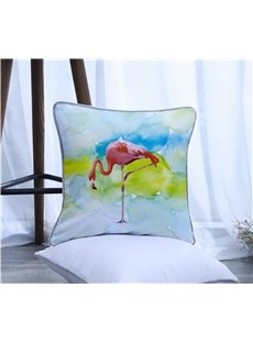 A Flamingo Pattern Polyester One Piece Decorative Square Throw Pillowcase