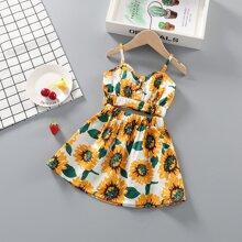 Cami Top mit Sonnenblumen Muster & Rock