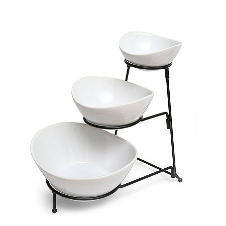 Gibson Elite Gracious Dining 3 Tier Bowl Server Set with Metal Stand, One Size , White