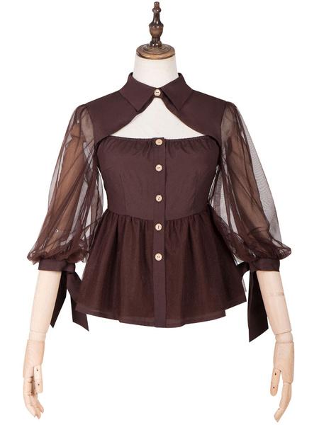 Milanoo Classic Lolita Blouses Chemist Sleeved Lolita Shirt Top