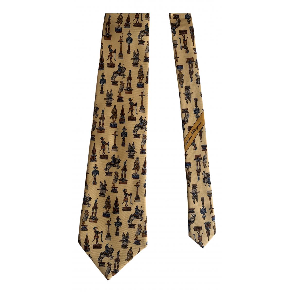 Salvatore Ferragamo \N Krawatten in  Gelb Seide
