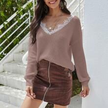 Pullover mit Kontrast Spitze, Band hinten und sehr tief angesetzter Schulterpartie