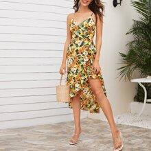 Cami Kleid mit Wickel Design und Blumen Muster