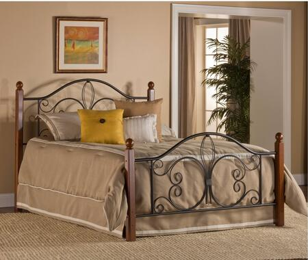 Milwaukee Collection 1422BFRP Full Size Poster Bed with Round Finials  Decorative Metal Scrolling and Open-Frame Panel Design in Textured Black and
