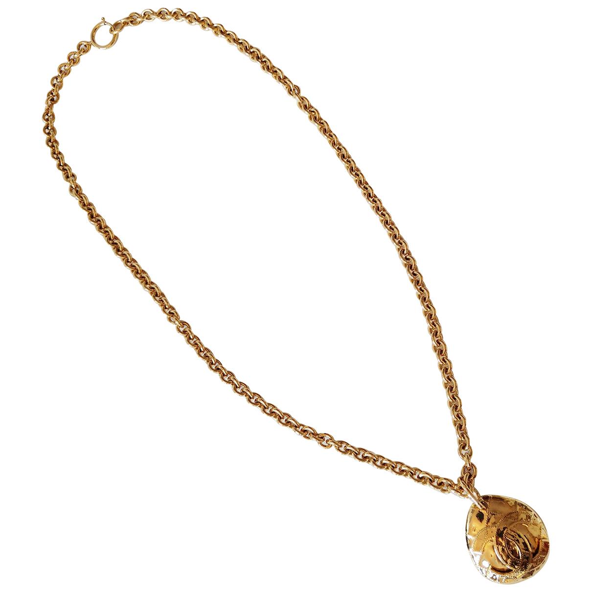 Chanel - Sautoir CC pour femme en plaque or - dore