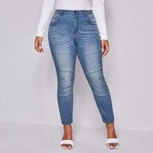 Plus Slant Pocket Skinny Jeans