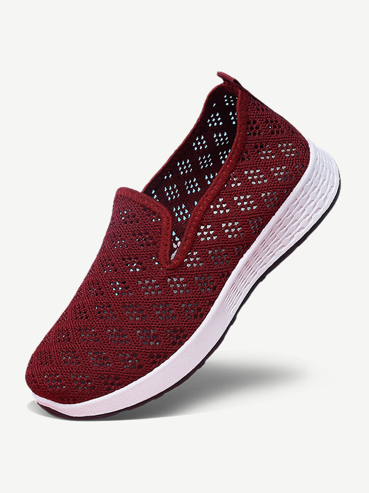 Women Hollow Out Mesh Lazy Slip On Walking Shoes