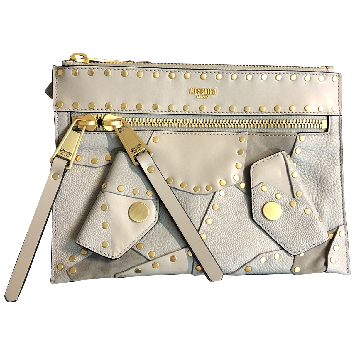 Moschino \N Grey Leather Clutch bag for Women \N