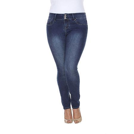 White Mark Womens Skinny Stretch Jeggings - Plus, 14w , Blue