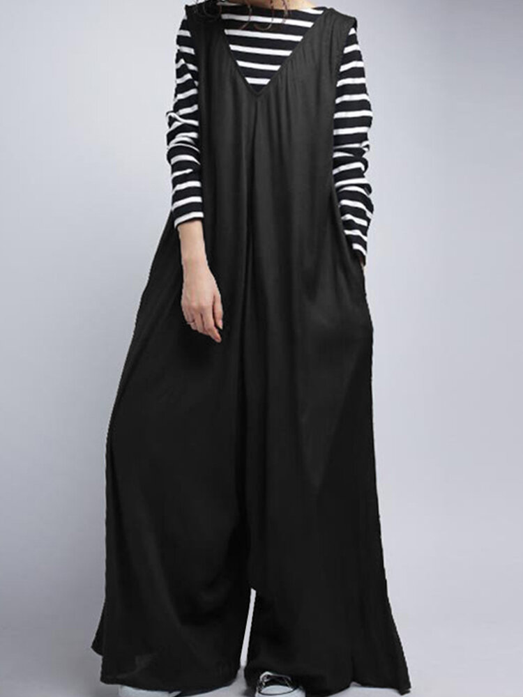 Solid Color Wide-legged V-neck Sleeveless Loose Jumpsuits