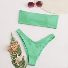 Rib Bandeau High Cut Bikini Swimsuit