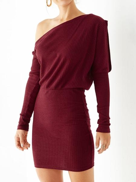 Yoins Burgundy Cut Out One Shoulder Bodycon Hem Dress