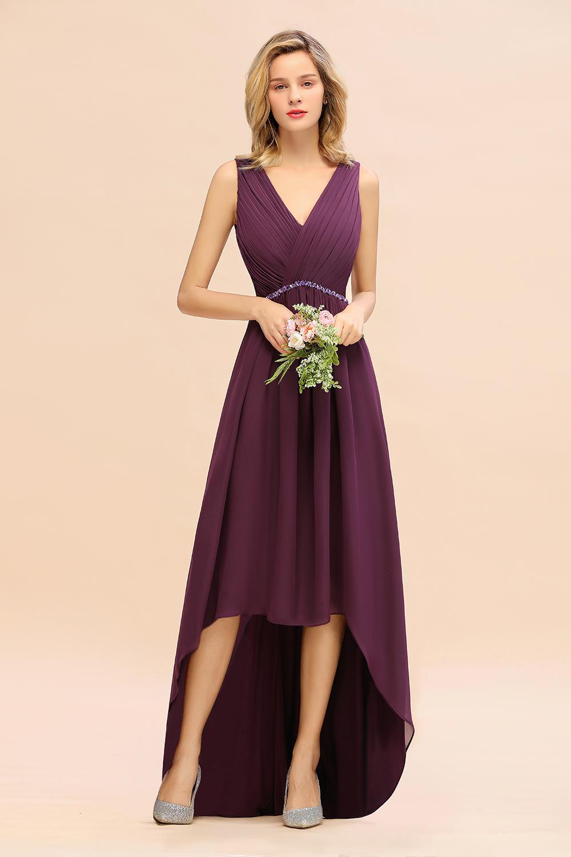 BMbridal Affordable Grape Sleeveless Bridesmaid Dress