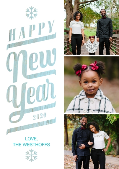 Holiday Photo Cards 5x7 Cards, Premium Cardstock 120lb with Rounded Corners, Card & Stationery -Rustic Snowflake Happy New Year 2020 by Hallmark