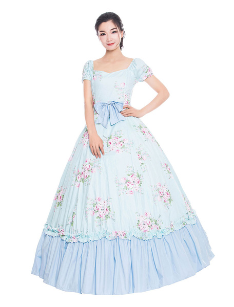 Milanoo Women Retro Costumes Baby Blue Floral Print Bows Ruffle Matte Satin Victorian Style Vintage Clothing Halloween