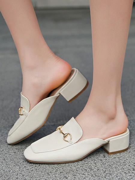 Milanoo Las mujeres mulas y Zuecos cuero de la PU del dedo del pie redondo blanco Chunky talon Mental Slip-en los zapatos detallada