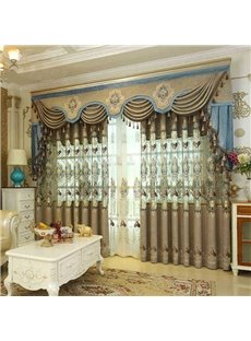 European Ritzy Style Chenille Hollowed-out Embroidery Living Room Curtain