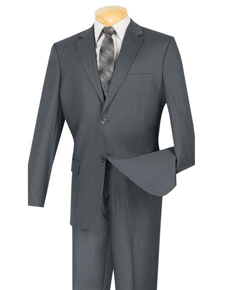 Mens Gray Mini Stripe ~ Pinstripe 2 button Wool Blend Suit