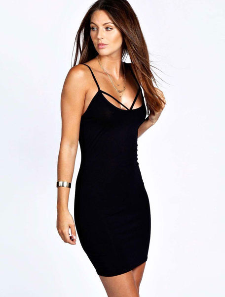 Milanoo Burgundey Bodycon Dress Cross Front Straps Backless Acetate Summer Dresses