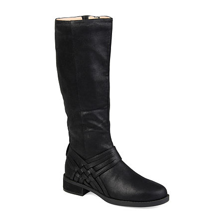 Journee Collection Womens Meg Wide Calf Stacked Heel Over the Knee Boots, 8 1/2 Medium, Black