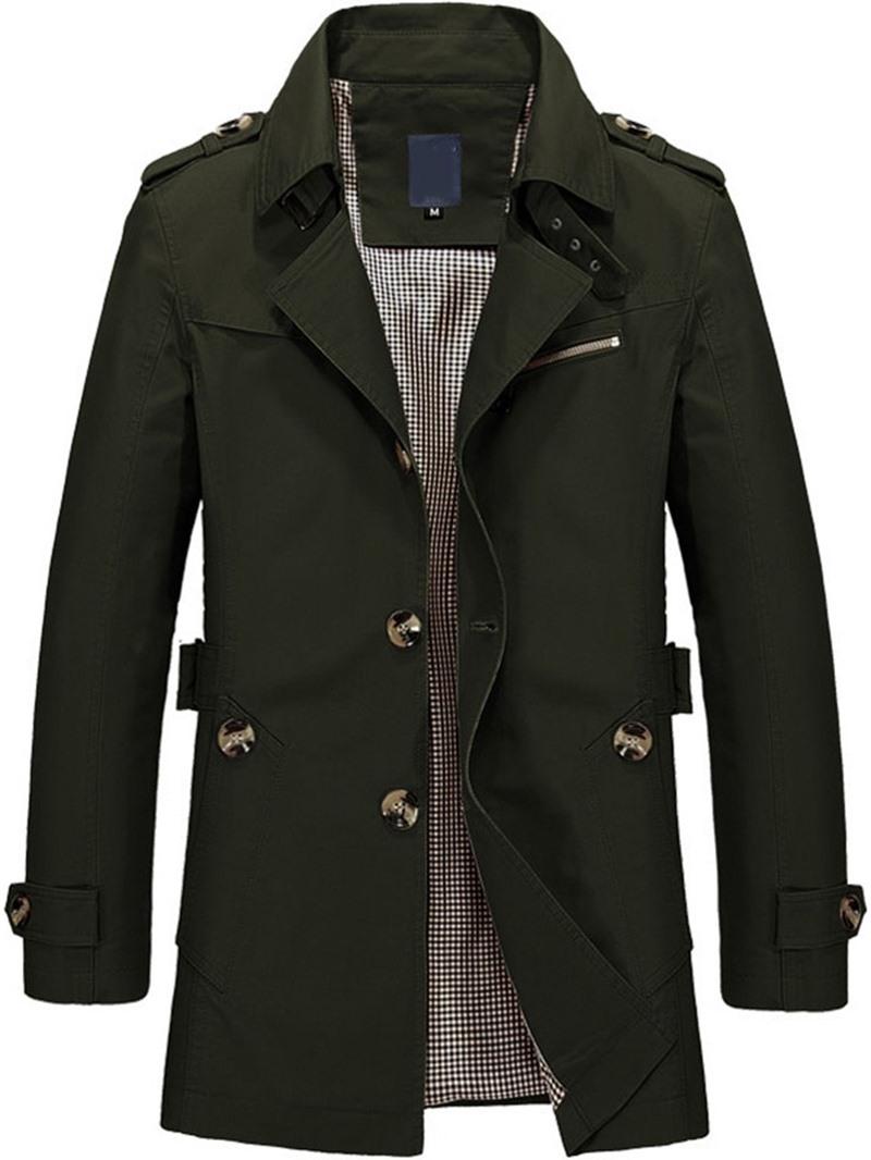 Ericdress Plain Mid-Length Lapel Single Thin Trench Coat