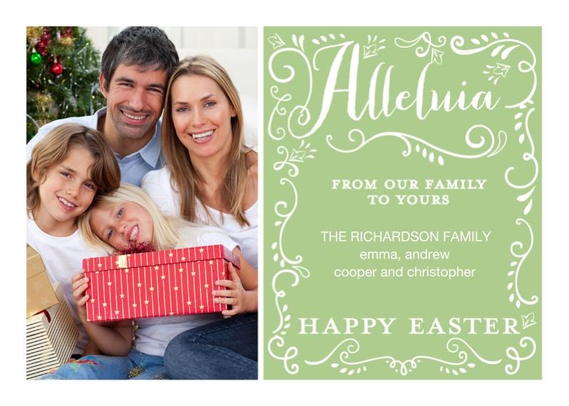 Easter Cards 5x7 Folded Cards, Standard Cardstock 85lb, Card & Stationery -Easter Alleluia Swirls