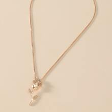 Rhinestone Decor Flower Charm Necklace