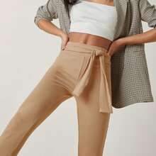 Belted Ribbed Solid Pants