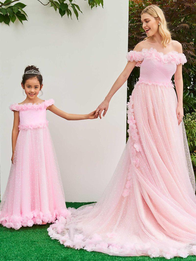 Ericdress Off The Shoulder 3D Flowers Pink Wedding Dress