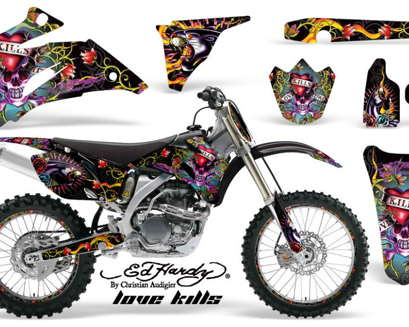 AMR Racing Graphics MX-NP-YAM-YZ250F-YZ450F-06-09-EDHLK K Kit Decal Wrap + # Plates For Yamaha YZ250F YZ450F 2006-2009áEDHLK BLACK