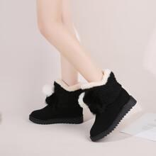 Warmer Stiefel mit Pompon Dekor