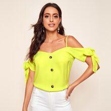 Neon gelbes Schulterfreies Top mit Knoten und Knopfen vorn