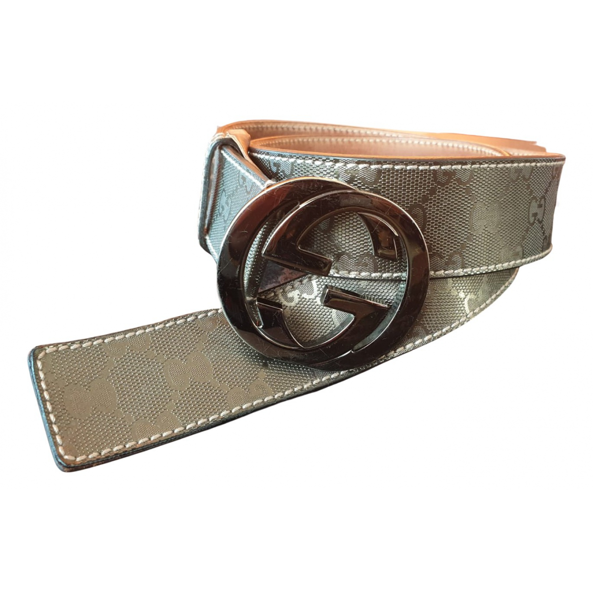 Gucci Interlocking Buckle Metallic Leather belt for Women 95 cm