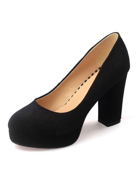 Milanoo Women's Black Platform Heels Round Toe Block Heel Pumps Faux Suede Heeled Shoes
