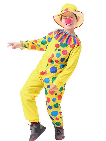Milanoo Carnaval Circo Disfraz Amarillo Unisex Mono Conjunto de sombrero Poliester Disfraces de Halloween para fiestas