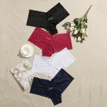 4pack Plus Floral Lace Panty Set