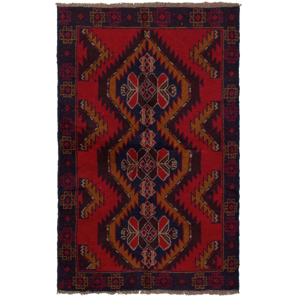 ECARPETGALLERY Hand-knotted Teimani Red Wool Rug - 3'6 x 6'0 (Red - 3'6 x 6'0)